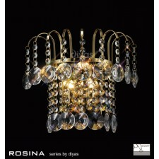 Diyas Rosina Wall Lamp 2 Light French Gold/Crystal Switched