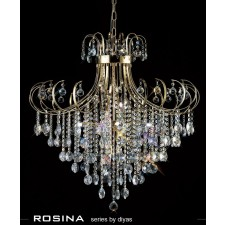 Diyas Rosina Pendant 8 Light French Gold/Crystal