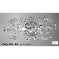 Diyas Savanna Wall Lamp 2 Light Polished Chrome/Crystal Switched