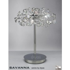 Diyas Savanna Table Lamp 3 Light Polished Chrome/Crystal