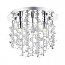 Sestina 3 Light Flush Polished Chrome With Alum Crystal Rods