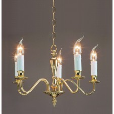 Impex Georgian Chandelier Polished Brass - 5 Light