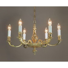 Impex Sandringham Chandelier Polished Brass - 6 Light