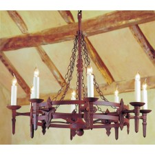 Impex Baronial Chandelier - 8 Light, Brown