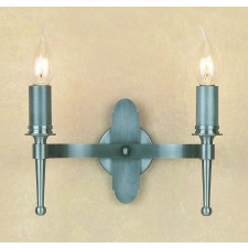 Impex Blenheim Wall Light Sterling - 2 Light, Satin Chrome & Nickel