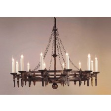 Impex Baronial Chandelier Black Gold - 12 Light