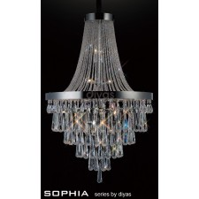 Diyas Sophia Pendant 17 Light Chrome/Crystal