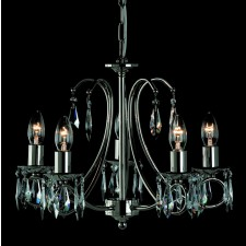 Impex Terni Chandelier Nickel - 5 Light