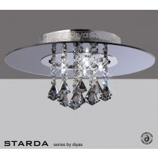 Diyas Starda Ceiling 5 Light Round Polished Chrome/Smoked Mirror/Smoked Crystal
