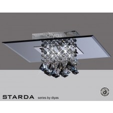 Diyas Starda Ceiling 5 Light Square Polished Chrome/Smoked Mirror/Smoked Crystal