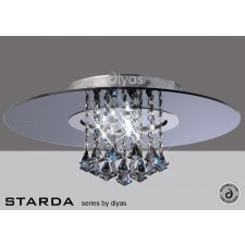 Diyas Starda Ceiling 8 Light Round Polished Chrome/Smoked Mirror/Smoked Crystal