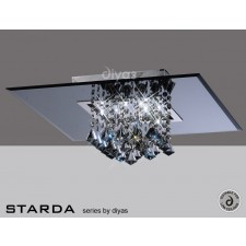 Diyas Starda Ceiling 8 Light Square Polished Chrome/Smoked Mirror/Smoked Crystal