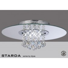 Diyas Starda Ceiling 8 Light Round Polished Chrome/Crystal