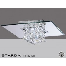 Diyas Starda Ceiling 8 Light Square Polished Chrome/Crystal
