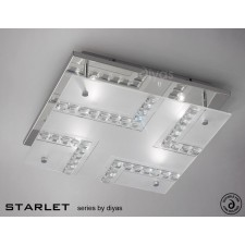 Diyas Starlet Ceiling 4 Light Square Polished Chrome/Crystal