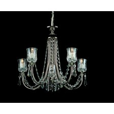 Impex Tulip Chandelier Nickel - 5 Light