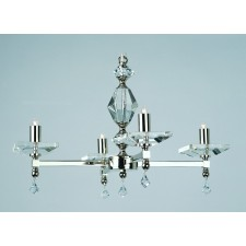Impex Capri Chandelier - 4 Light, Satin Chrome & Nickel