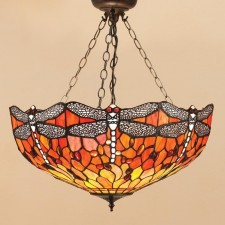 Interiors1900 Dragonfly Flame 3 Chain Pendant