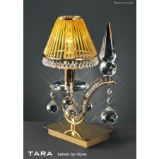 Diyas Tara Table Lamp 1 Light Polished Gold Plated/Crystal