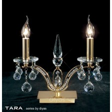Diyas Tara Table Lamp 2 Light Polished Gold Plated/Crystal