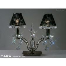 Diyas Tara Table Lamp 2 Light Polished Black Chrome/Crystal