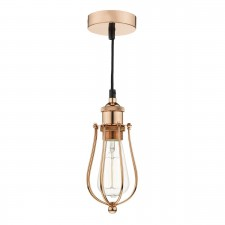Taurus 1 Light Pendant Cage Bright Copper