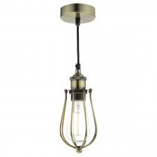 Taurus 1 Light Pendant Cage Antique Brass