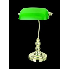 Impex Bankers Lamp Table Lamp Polished Brass - 1 Light