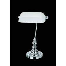 Impex Bankers Lamp Table Lamp Chrome - 1 Light