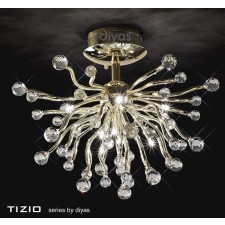 Diyas Tizio Ceiling 10 Light Gold/Crystal