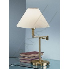Franklite Swing Arm Table Lamp - Satin Brass, Shade Included
