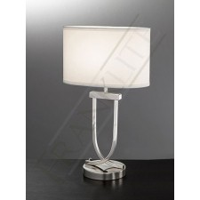 Franklite Contemporary Table Lamp - Polished Chrome, Complete with Off-white Oval Shade