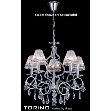 Diyas Torino Pendant 5 Light Round Polished Chrome/Crystal