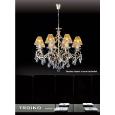 Diyas Torino Pendant 8 Light Round Polished Gold Plated/Crystal