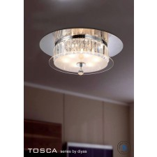Diyas Tosca Ceiling Round 6 Light Polished Chrome/Crystal