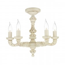 Tudor Ceiling Light - Distressed Old Ivory 5 Light