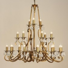 Interiors1900 Oksana 21-Light Chandelier, Antique Brass