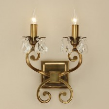 Interiors1900 Oksana Double Wall Light Antique Brass