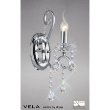 Diyas Vela Wall Lamp 1 Light Polished Chrome/Crystal Switched