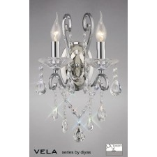 Diyas Vela Wall Lamp 2 Light Polished Chrome/Crystal Switched