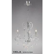 Diyas Vela Pendant 3 Light Polished Chrome/Crystal