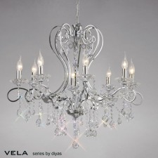 Diyas Vela Pendant 8 Light Polished Chrome/Crystal