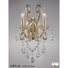Diyas Vela Wall Lamp 2 Light French Gold/Crystal Switched