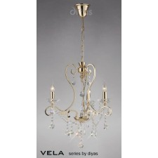 Diyas Vela Pendant 3 Light French Gold/Crystal