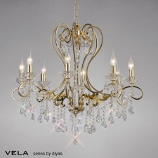 Diyas Vela Pendant 8 Light French Gold/Crystal