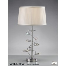 Diyas Willow Table Lamp 1 Light Polished Chrome/Crystal