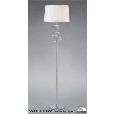 Diyas Willow Floor Lamp 1 Light Polished Chrome/Crystal