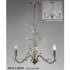 Diyas Willow Pendant 3 Light Antique Brass/Crystal
