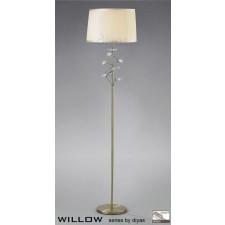 Diyas Willow Floor Lamp 1 Light Antique Brass/Crystal