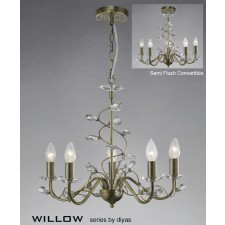 Diyas Willow Pendant 5 Light Antique Brass/Crystal